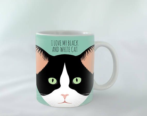 I Love My Black And White Cat Mug Personalised Diffe