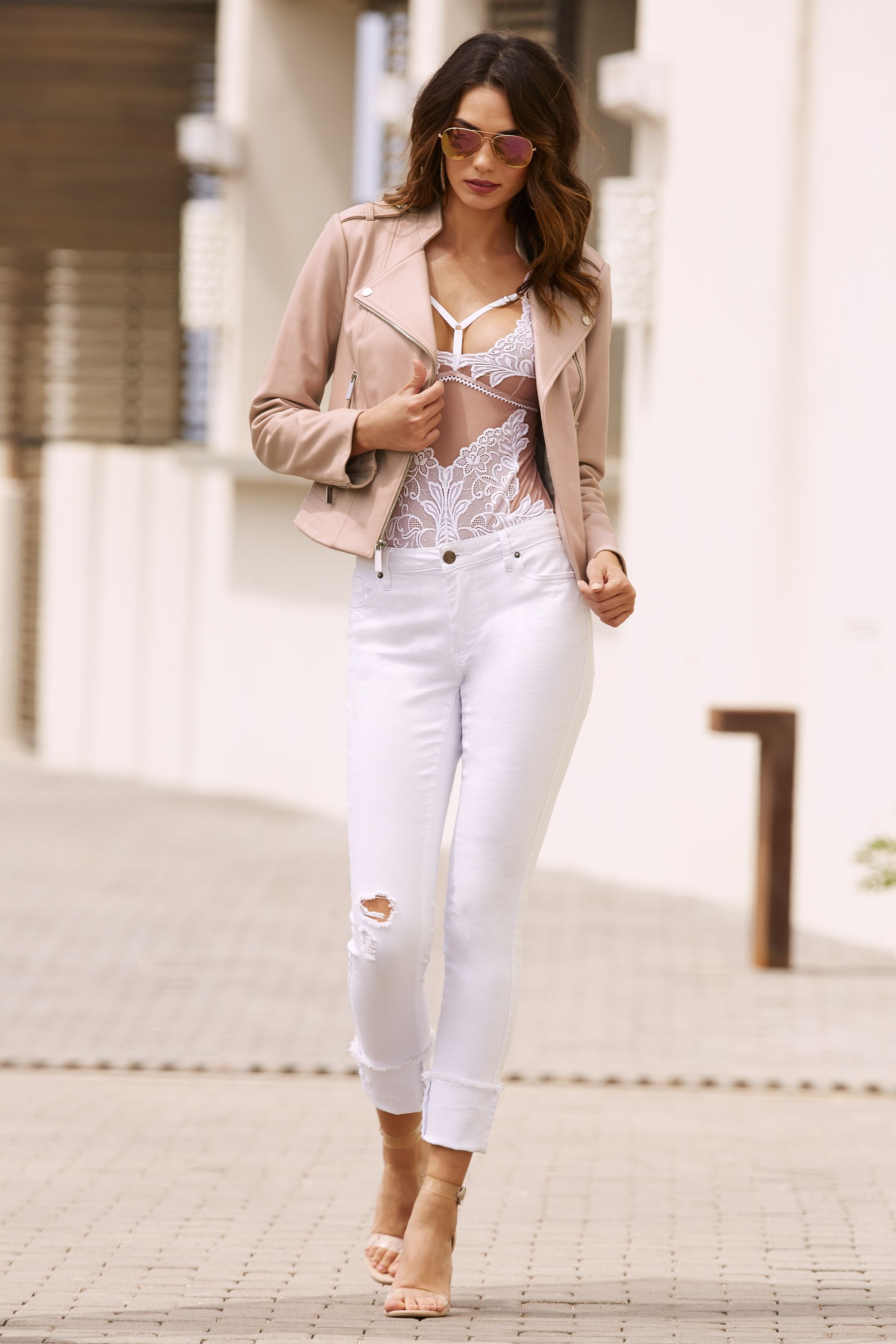 83abed455 Women s Blush Lace Bodysuit paired with our Proper Leather Moto Jacket and  our Cuffed Frayed Ankle Jean by Boston Proper.  leatherjacket  denim   frayeddenim ...