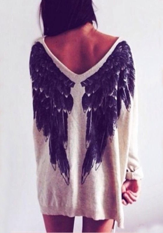 V Neck Long Sleeve Wing Pattern Loose Fitting T Shirt Jackets