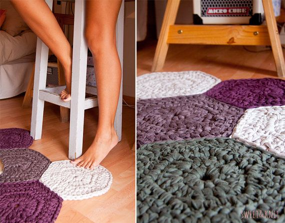 Alfombra de trapillo a crochet de muestras hexagonales por susimiu ganchillo pinterest - Tutorial alfombra trapillo ...