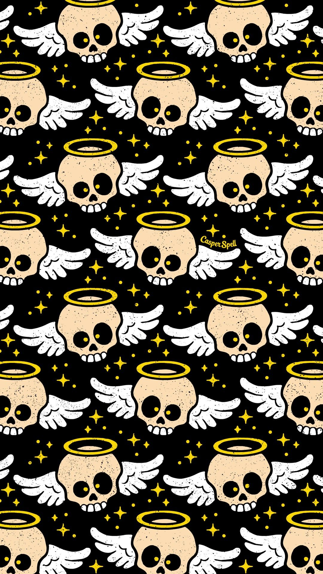 Angel Skull Skulls Macabre Spooky Creepy Cute Halloween Wallpaper Repeat Pattern Patterns Iphone Phone Back With Images Halloween Wallpaper Skull Wallpaper Cute Wallpapers