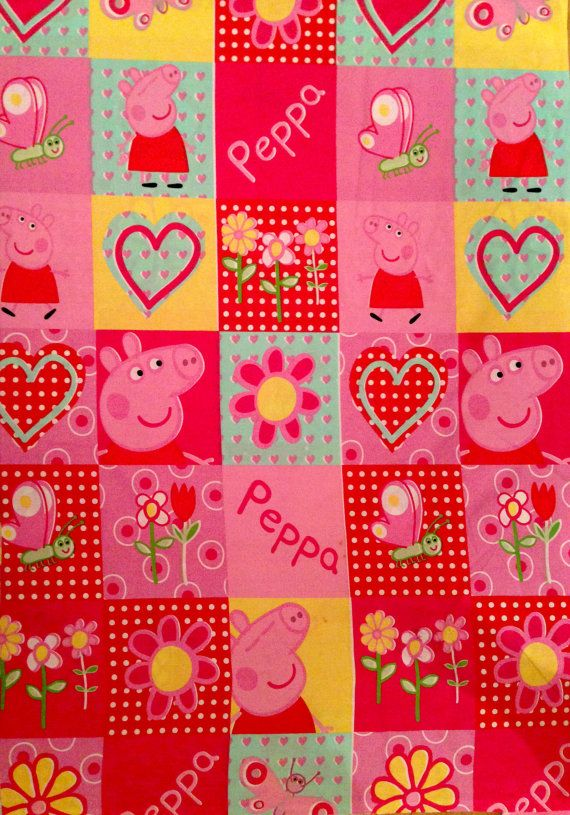 Peppa Pig Boxes Red Pink FABRIC by YARDAGE by SewingUniverse ... : peppa pig quilting fabric - Adamdwight.com
