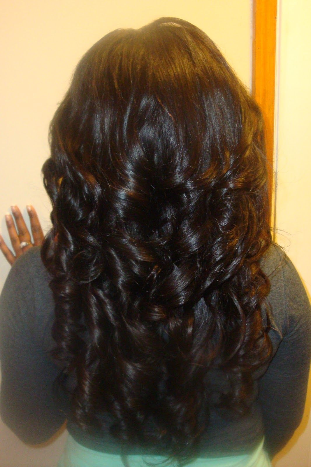Glamourous layered curly wavy sew in hairstyle hair all day