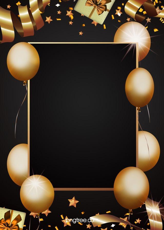Golden Party Decorations Black Background Papel De Parede