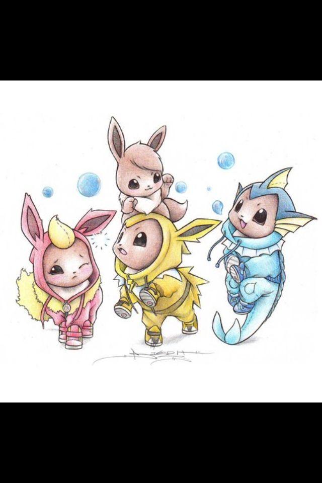 Eevee Jolteon Flareon And Vaporeon Drawing Pokemon