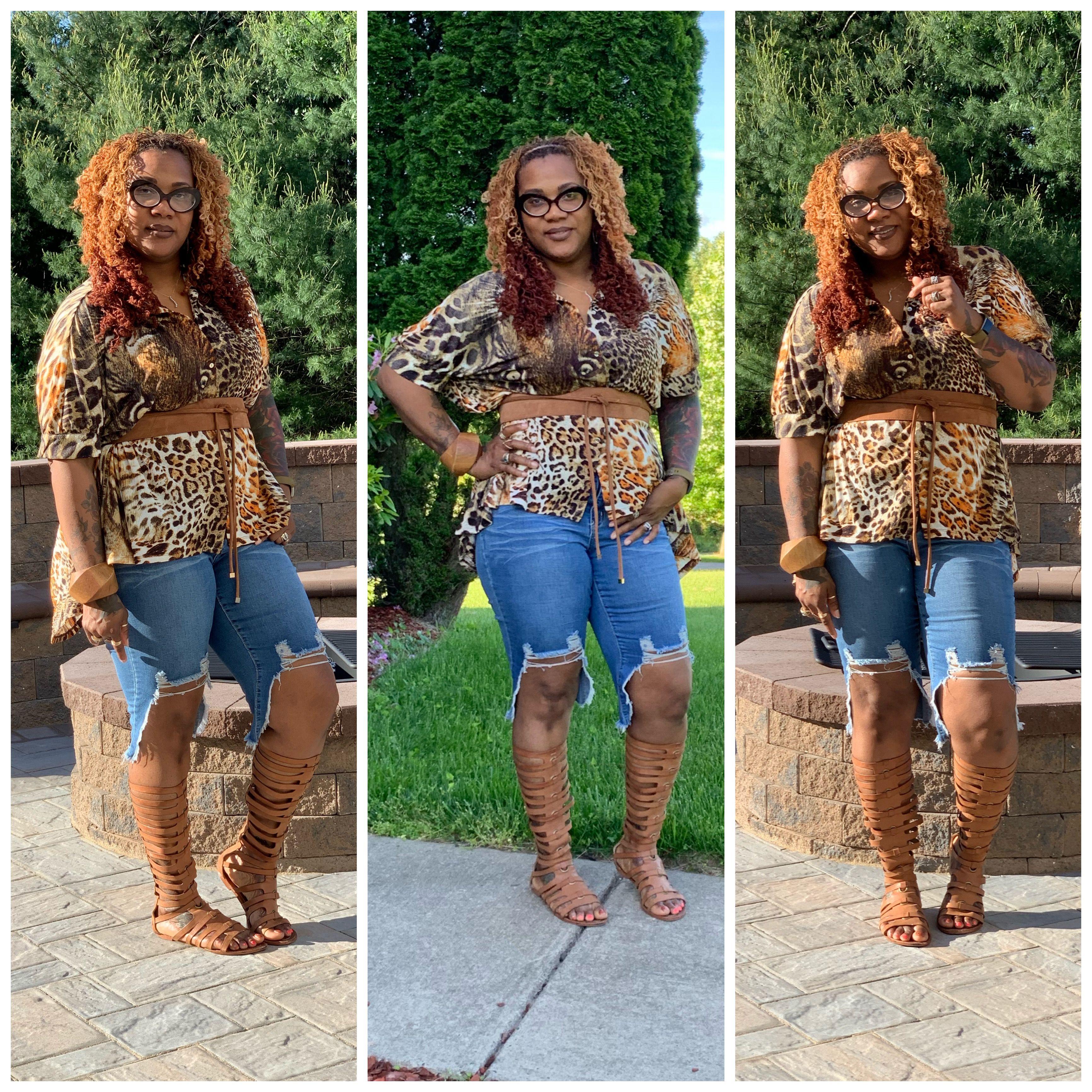 That Girl S Closet Tanyika Www Thatgirlscloset Com Animal Print High Low Shirt High Low Destructed Short Short Gladiator Sandals Fashion Lifestyle Blog Fashion
