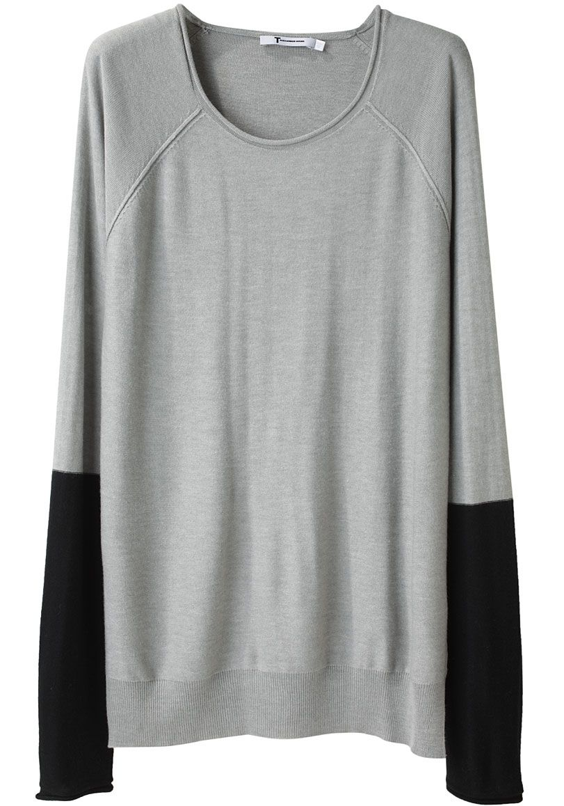 love the black sleeves. A cute take on the ubiquitous boxy sweater ...