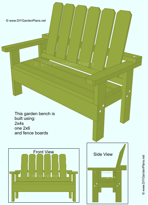 Free garden bench plans. All you need is 2x4s, one 2x6 and ...
