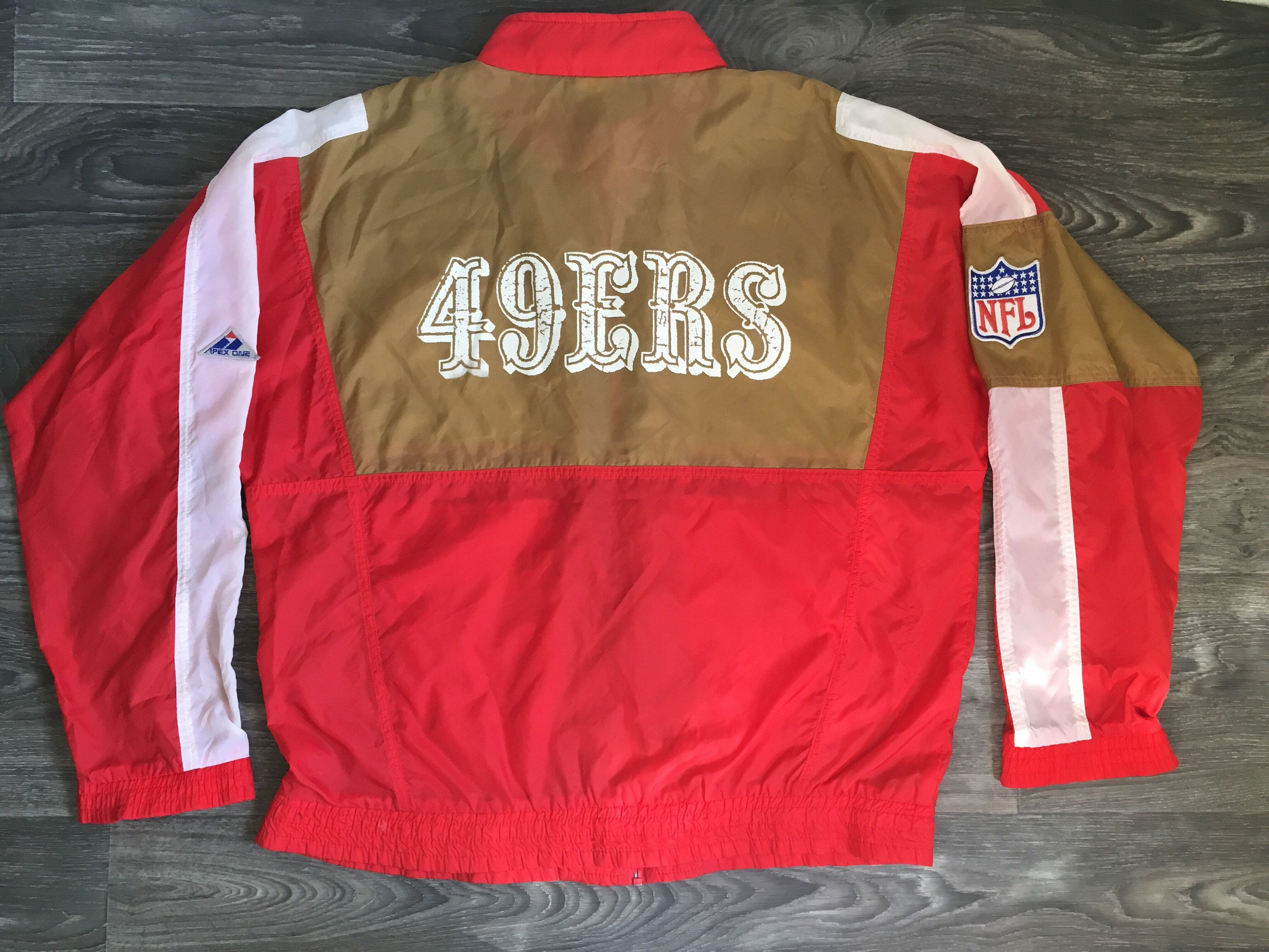 70519cc2e San Francisco 49ERS Windbreaker Jacket 80 s Vintage Official Forty Niners  Gold Red Nylon NfL Patch Football Apex-One XL by sweetVTGtshirt on Etsy