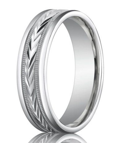 Palladium Wedding Band With Chevron And Milgrain Design 6mm Palladium Wedding Band Palladium Mens Wedding Bands Anniversary Rings Band