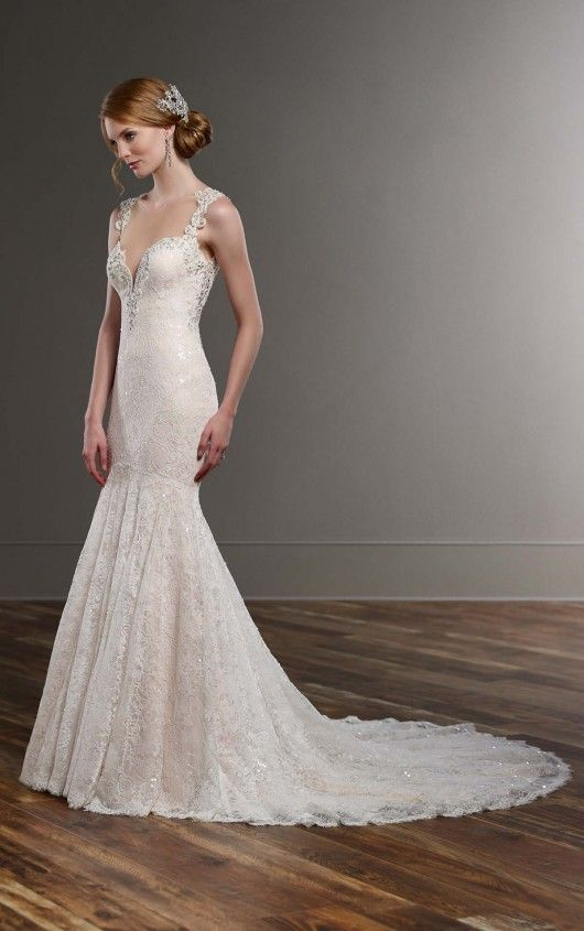 Sparkly FitandFlare Wedding Dress Satin color Wedding dress