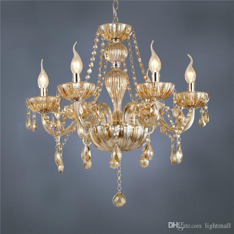 Freies Verschiffen Dhl 6 Arm Kronleuchter Moderne Kristall Lampe Kristall  Kronleuchter Licht Luxus Cognac Wohnzimmer Kronleuchter