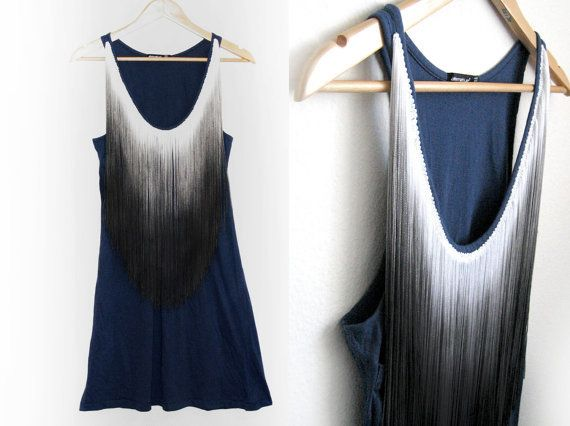 Dip Dye Fringe HAND PAINTED Bib Scoop Neck by twostringjane