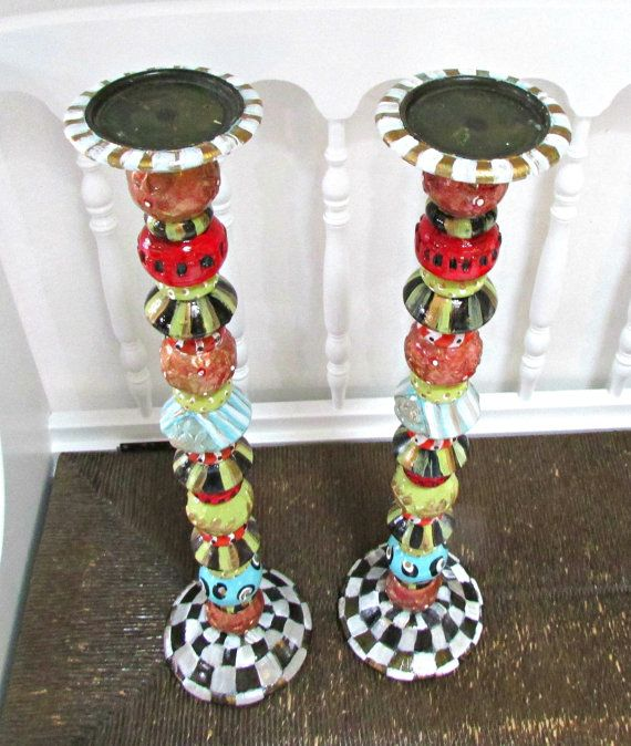 Candle Holder Pillars Painted Whimsical Tall By Whimsyburd