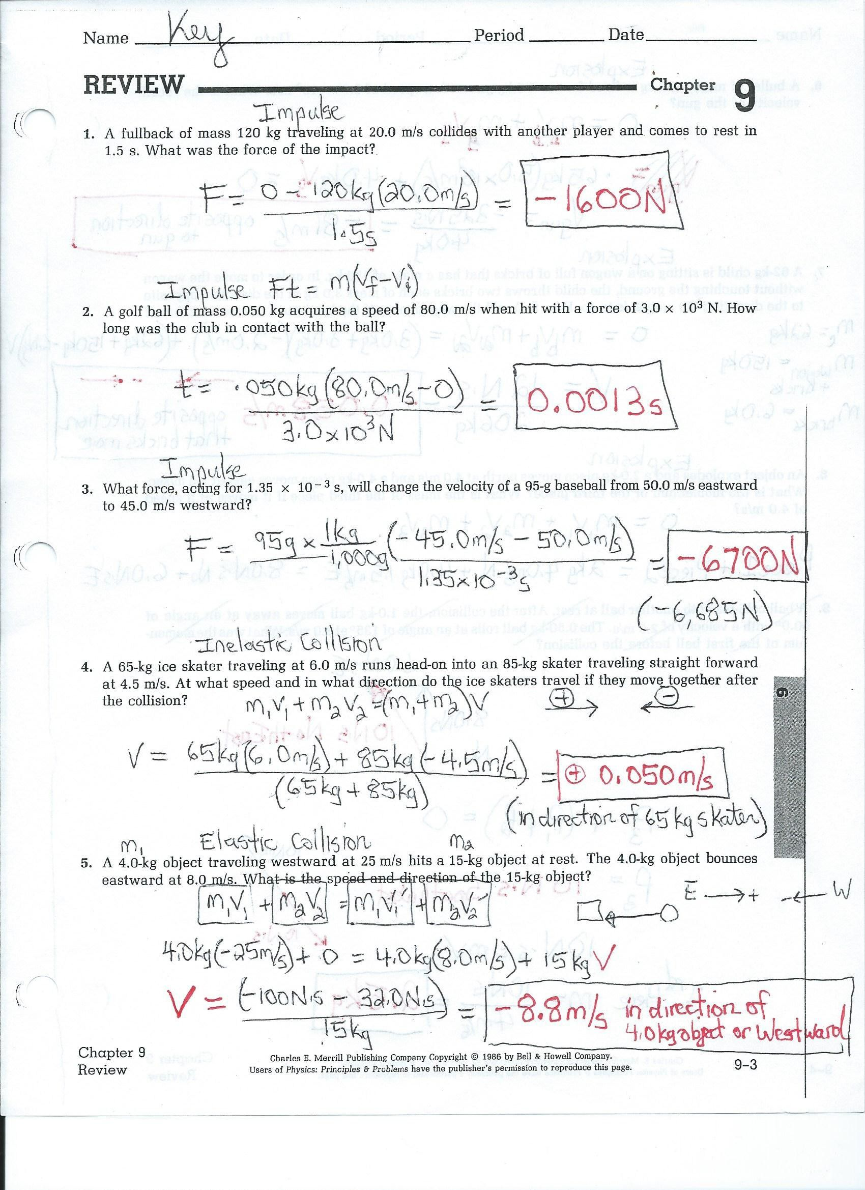 Physics Worksheets With Answers