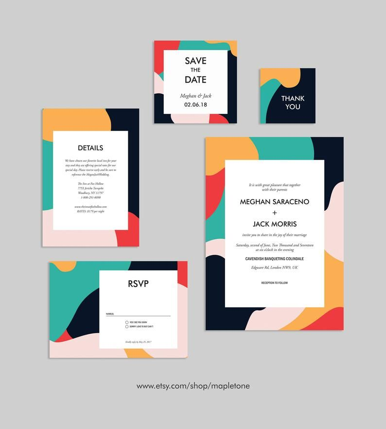 Abstract Wedding Invitation Modern Abstract Abstract Etsy Art