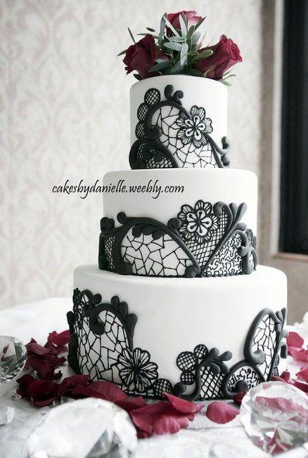 Black, Red & White Wedding - by CBD @ CakesDecor.com - cake decorating website