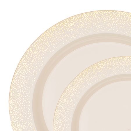 Save On Low Cost Mist Ivory Gold High End Plastic Dinner Plates For Fancy Showers Holiday Catering Discount Weddings A Budget