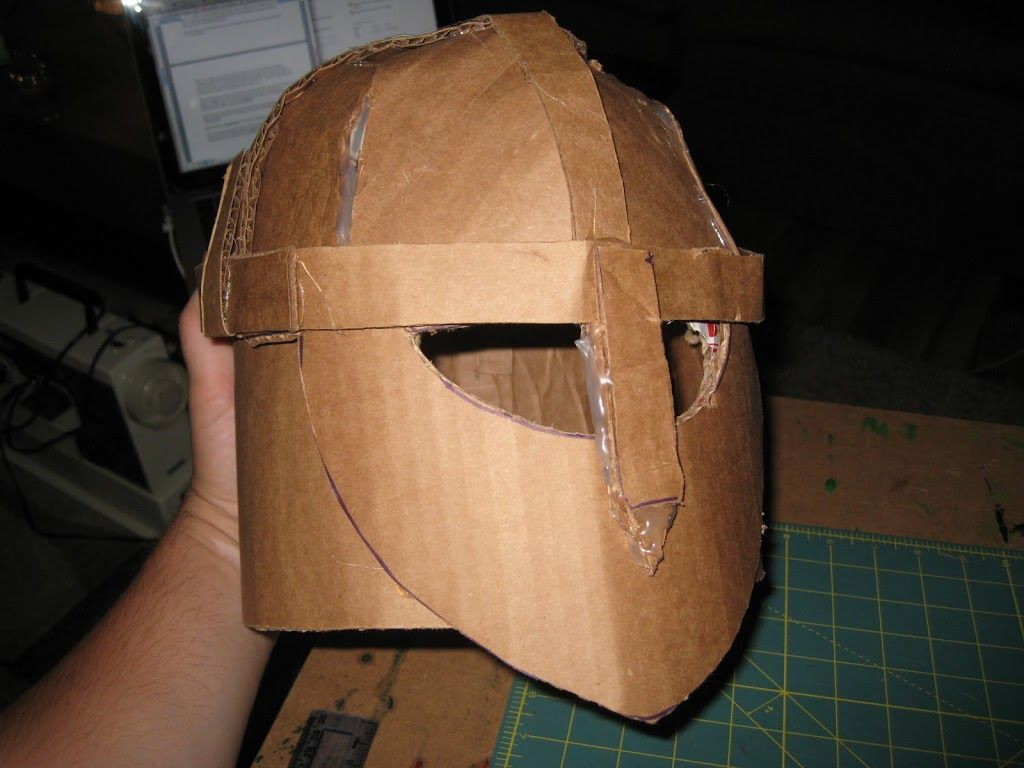 Diy building a medieval helmet out of cardboard happily for Paper knight helmet template