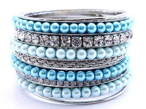STACKABLE BANGLES - Silver Tone Blue Pearl & Clear Crystal Stackable Bangles HopeChestJewelry. $33.49