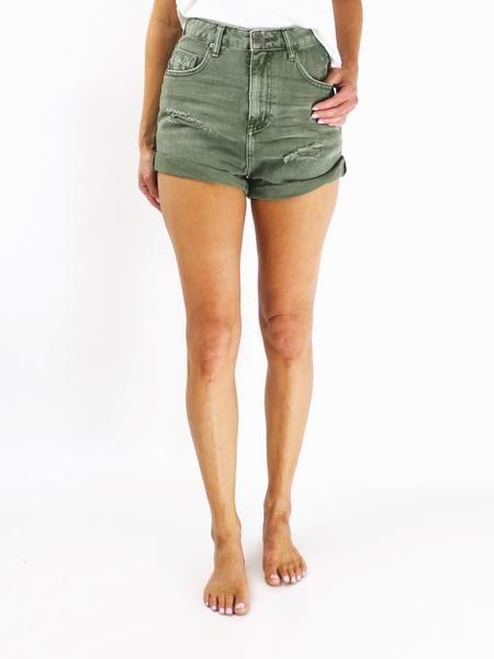 7adb679b5a One Teaspoon Bandits. Super Khaki One Teaspoon Bandits. Olive green high  waisted shorts. Olive green distressed shorts. Trendy summer denim.