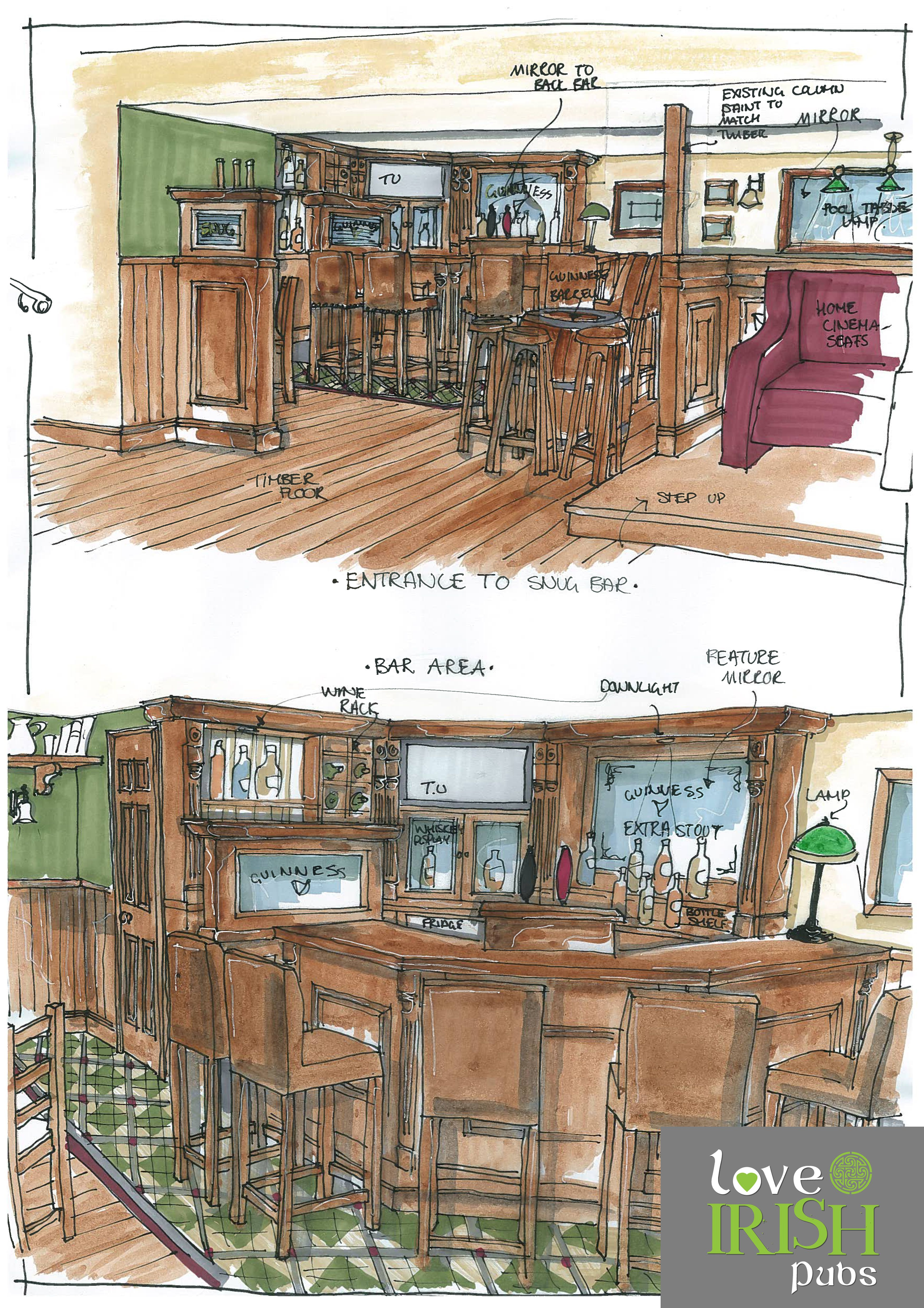 Irish Pub Home Bar Sketch by Love Irish Pubs...Love Irish Pubs!!!Love your Pub!!!