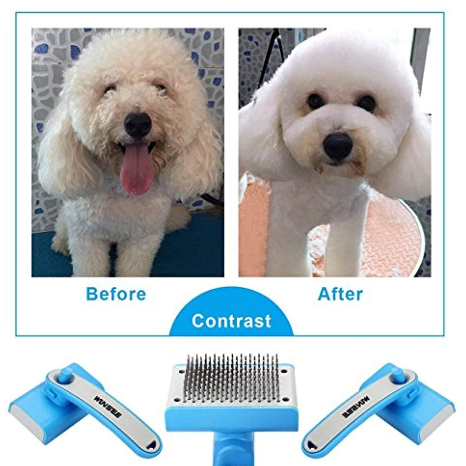 Winsee Dog Grooming Brush Self Cleaning Slicker Brush With