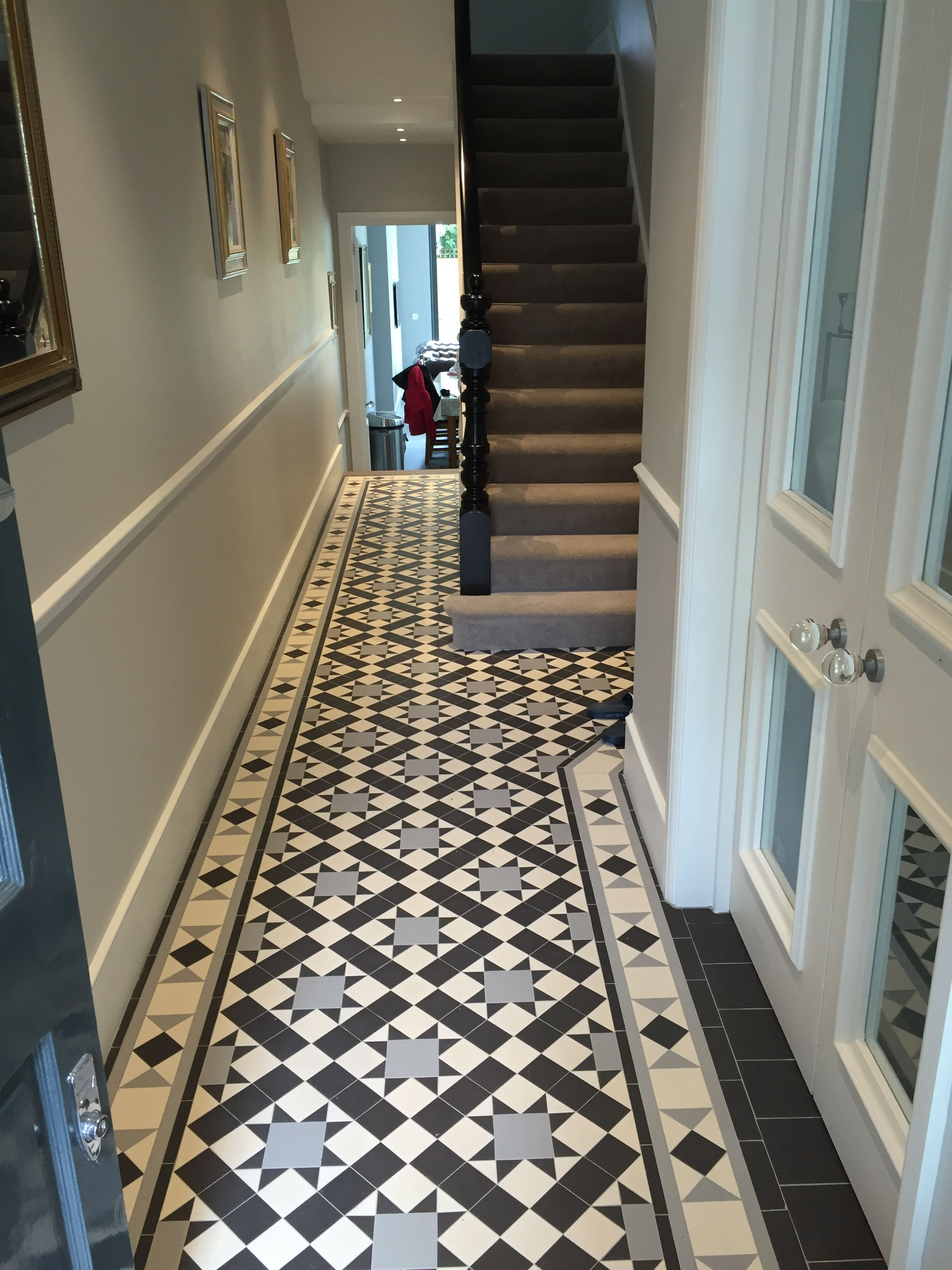 Tiled Floor Plain Stair Carpet Edwardian House Victorian Hallway Tiles
