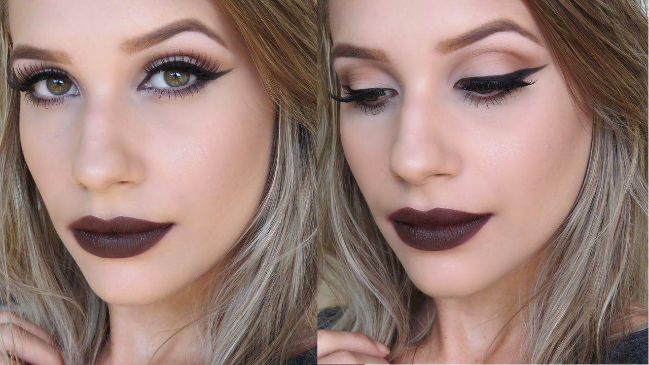 Maquiagem Outono Fall Makeup Tutorial Dark Brown Lips Lip