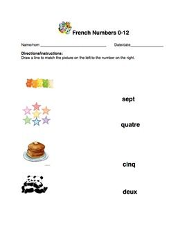French Worksheet Bundle Numbers   Formal Assessment