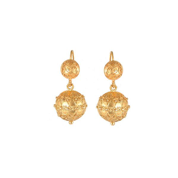 Antique Gold Etruscan Ball Earrings - Kentshire Jewelry found on Polyvore