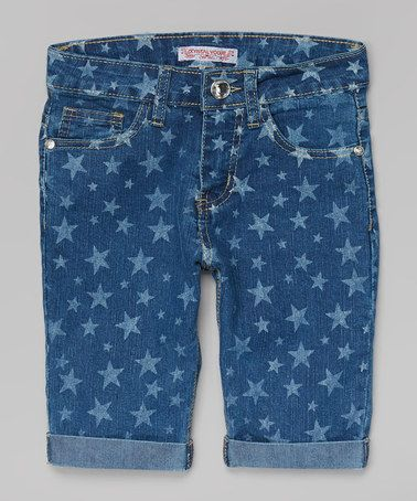 This Bleach Blue Wash Star Bermuda Shorts - Girls by Crystal Vogue is perfect! #zulilyfinds