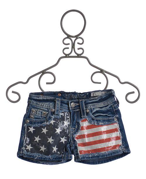 American Tween Girls Fashion: Miss Me Kids American Flag Shorts $72.00