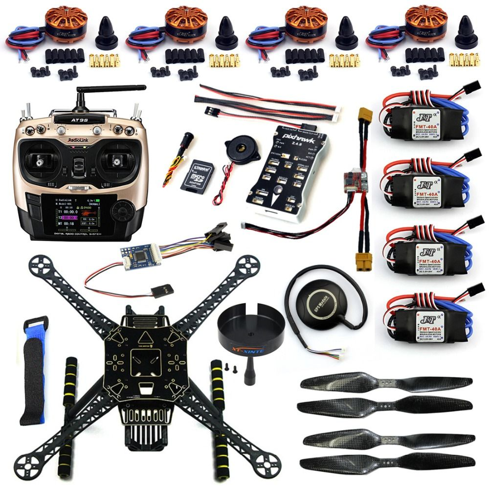 F19457 B Diy Fpv Drone Kit S600 4 Axle Frame 40a Esc With 700kv Motor Pix 2 4 8 Flight Control At9s Transimitter Gps Xt Drone Design Drone Technology Diy Drone