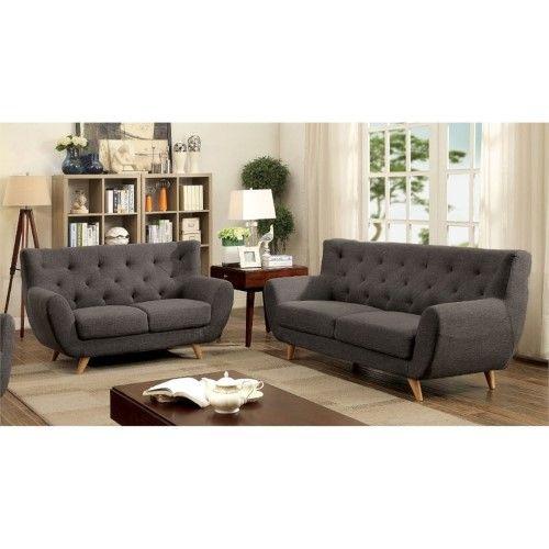 Fabulous Furniture Of America Malania Tufted 3 Piece Sofa Set In Gray Theyellowbook Wood Chair Design Ideas Theyellowbookinfo