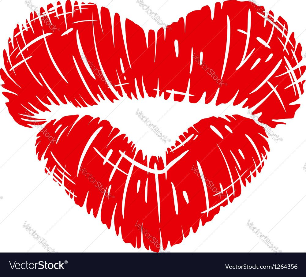 Red lips print in heart shape Royalty Free Vector Image