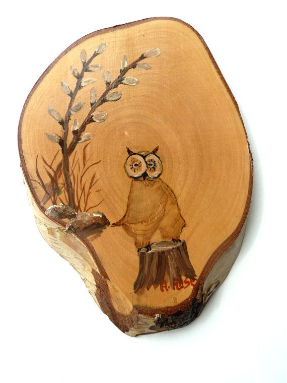 Rustic Hand Made Birch Raw Wood Log with a Owl Knot Hole Painted with Pussywillows Signed by the Artist