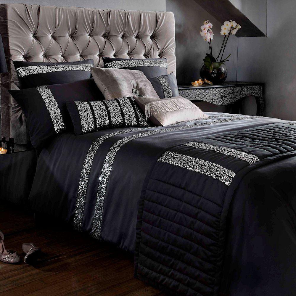 Safia Luxury Black Sequin Embellished Duvet Quilt Cover Bedding