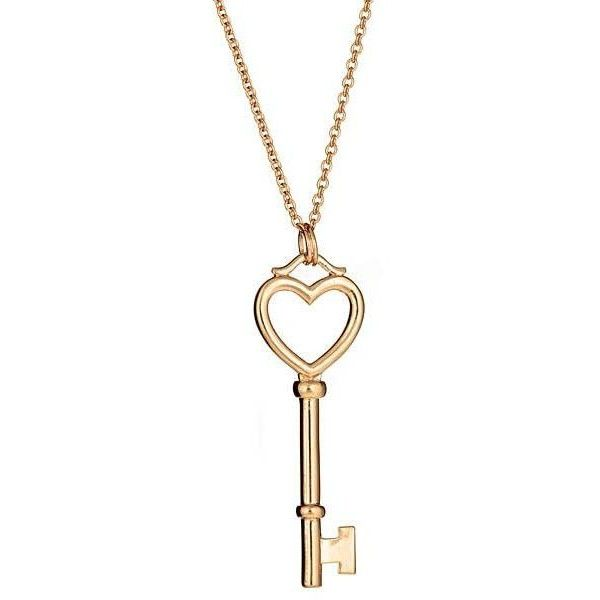 c7730c4a9 Sterling Silver Gold Heart Key Necklace ($50) ❤ liked on Polyvore featuring  jewelry, necklaces, sterling silver heart necklace, gold heart shaped  necklace, ...