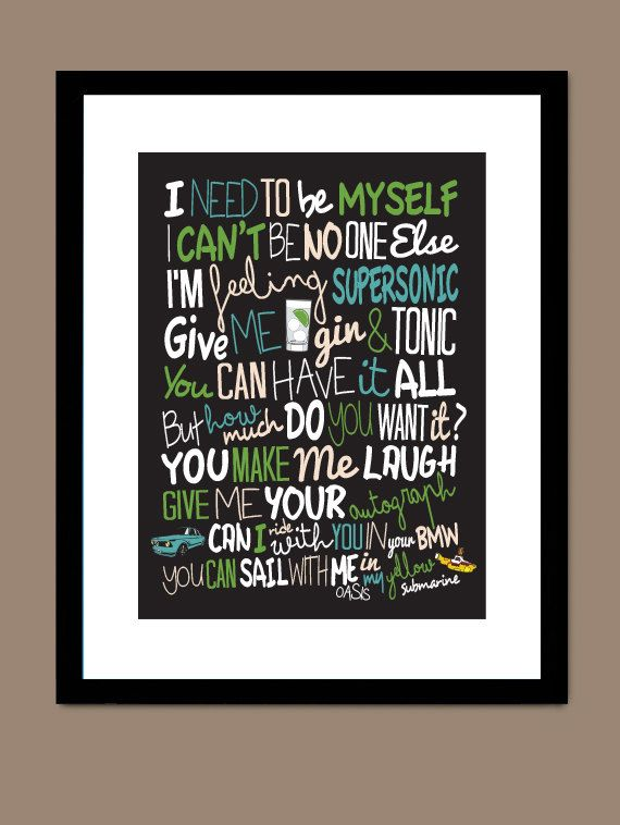Oasis Song Lyrics Typography A4 Print Poster Artwork Supersonic