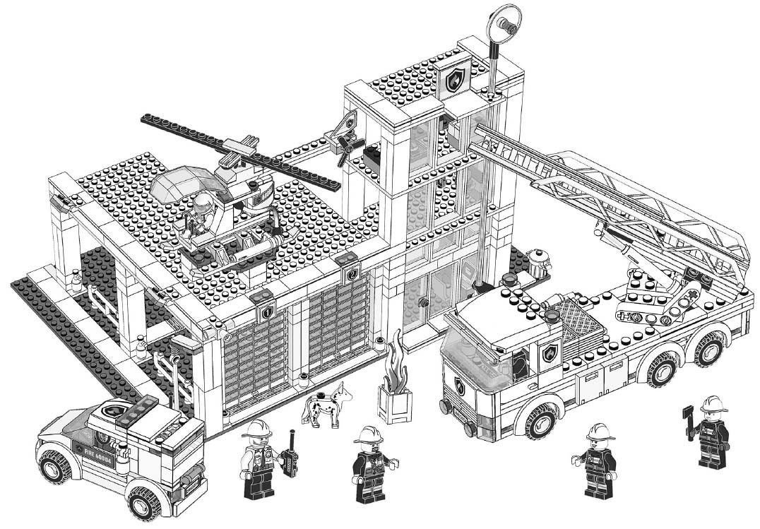Print this LEGO CITY 60004 Fire station coloring sheet