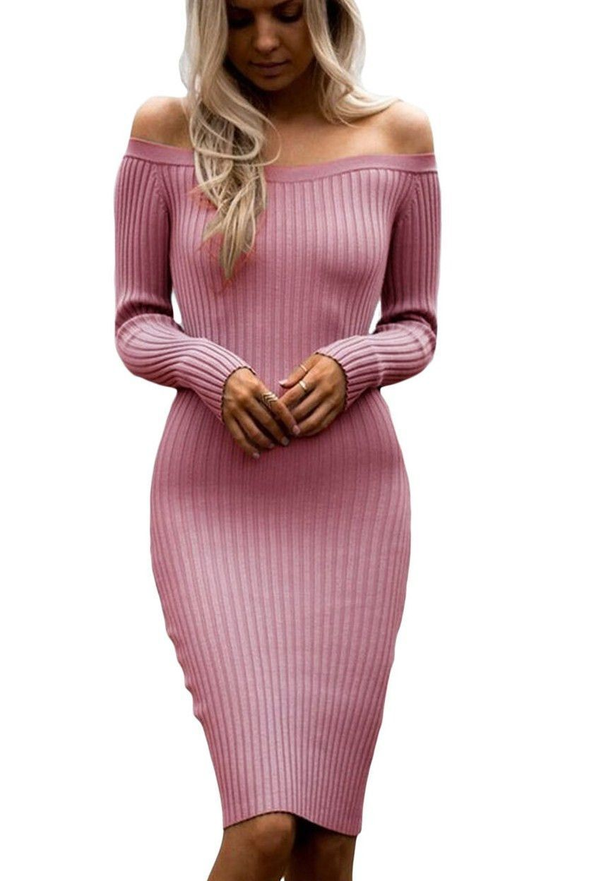 b4743d056c59 Pink Off Shoulder Long Sleeve Knee Length Rib Knit Sweater Dresses ...