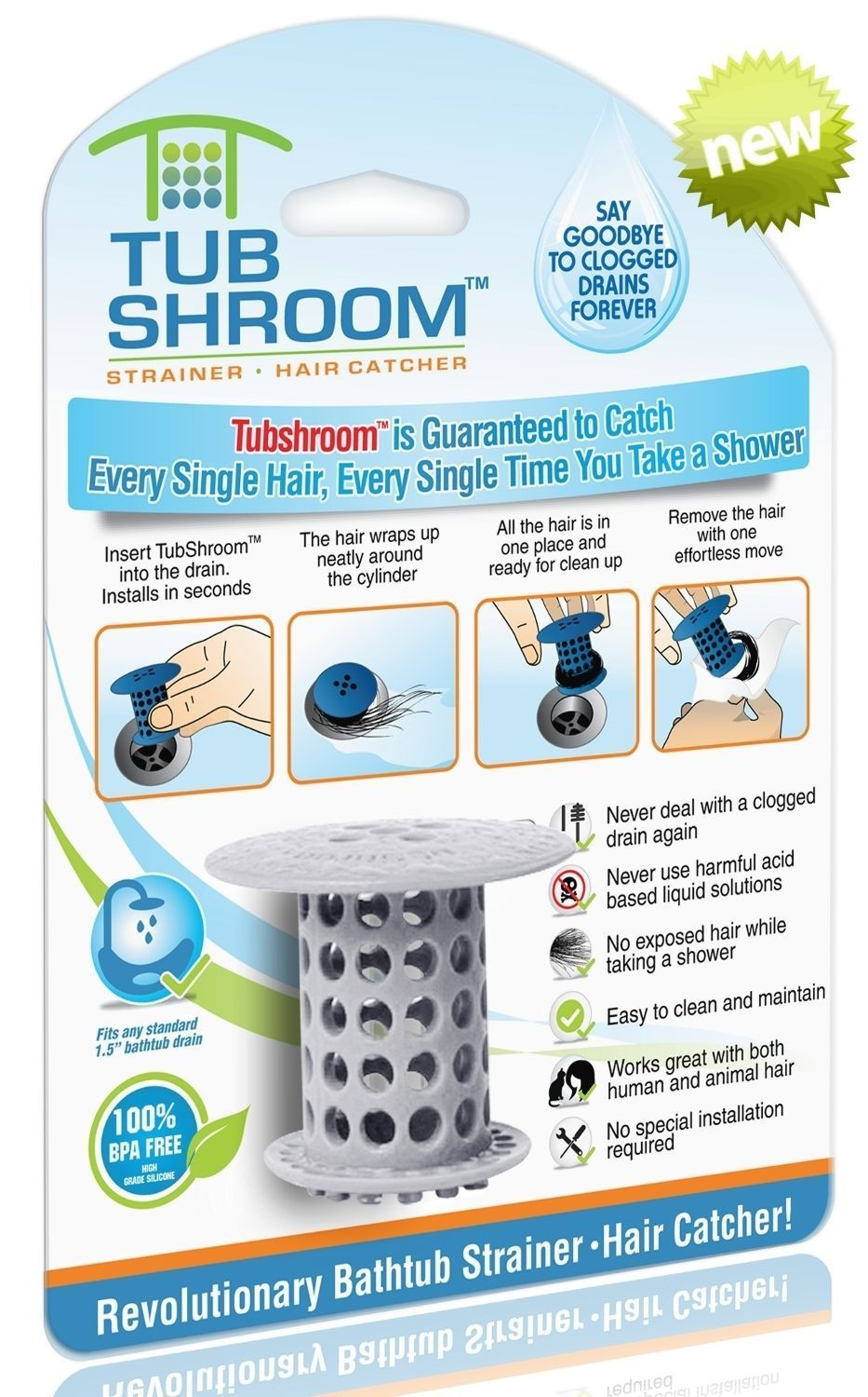 Gray) TubShroom Hair Catcher, Strainer, Drain Protector for Tub, 100 ...