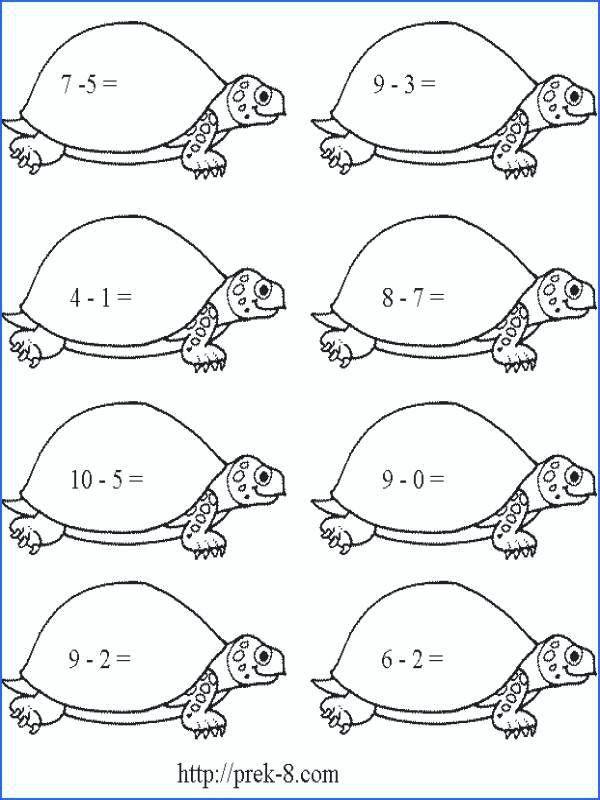 subtraction worksheets for grade kids coloring first grade