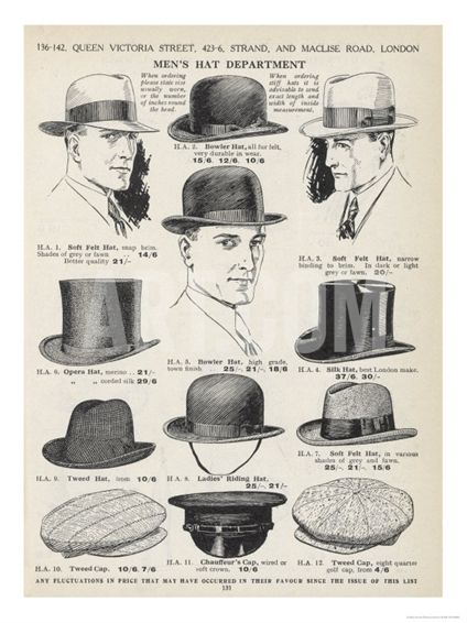 A Variety of Men's Hats Giclee Print at Art.com - living room