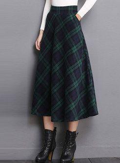 Shop High Waist Pocket Plaid Woolen Big Hem Skirt at EZPOPSY. Discover fashion online.