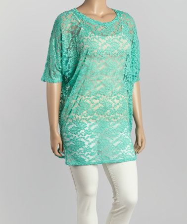 Look what I found on #zulily! Mint Lace Boatneck Top - Plus by R Rouge #zulilyfinds