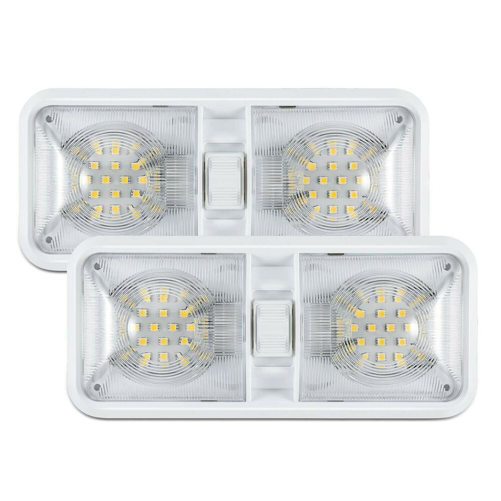 Sponsored Ebay 2x New Rv Led 12v Ceiling Fixture Double Dome Light For Camper Trailer Rv Marine Dome Lighting Ceiling Fixtures
