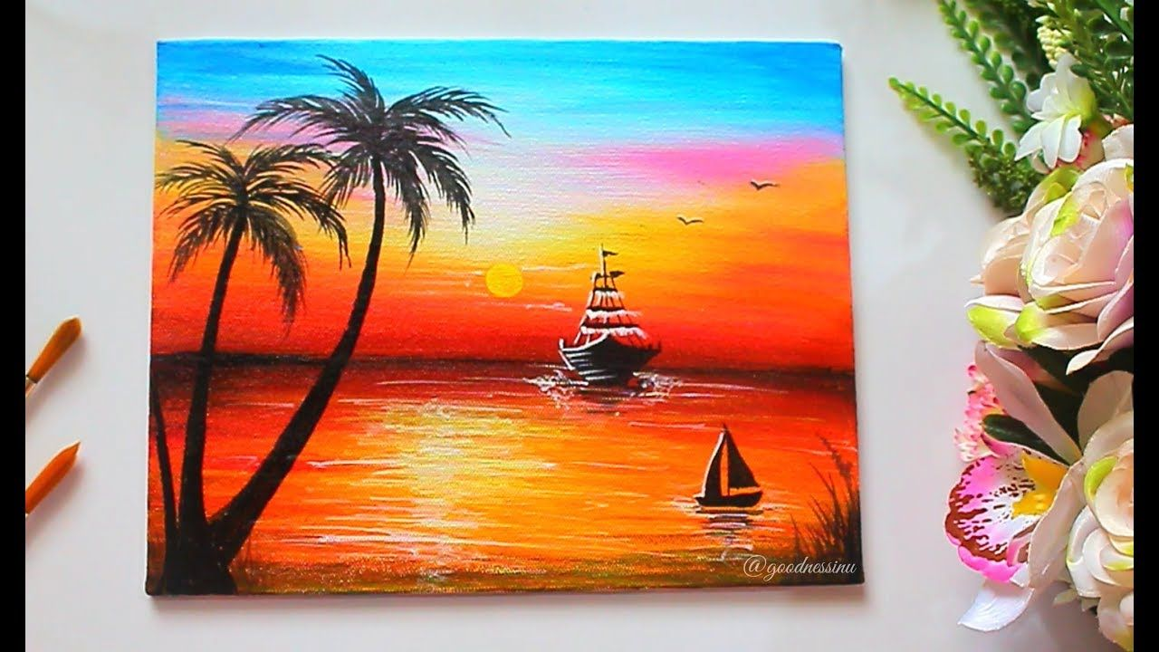 Easy Sunset Painting For Beginners Step By Step Tutorial