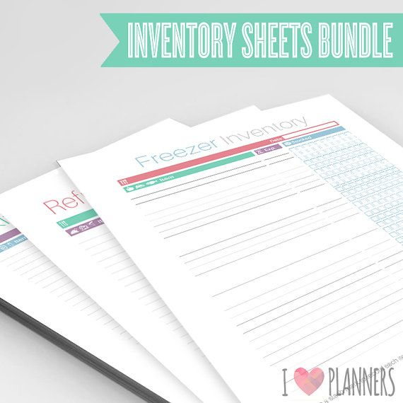 Pantry, Kitchen, Freezer and Refrigerator Inventory Sheets Bundle - inventory format